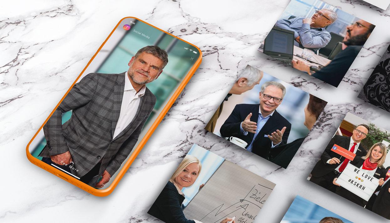 Ansprechende Präsentation von Businessportraits, Mittarbeiter- und Firmenfotos mit Fokus auf Social-Media-Marketing
