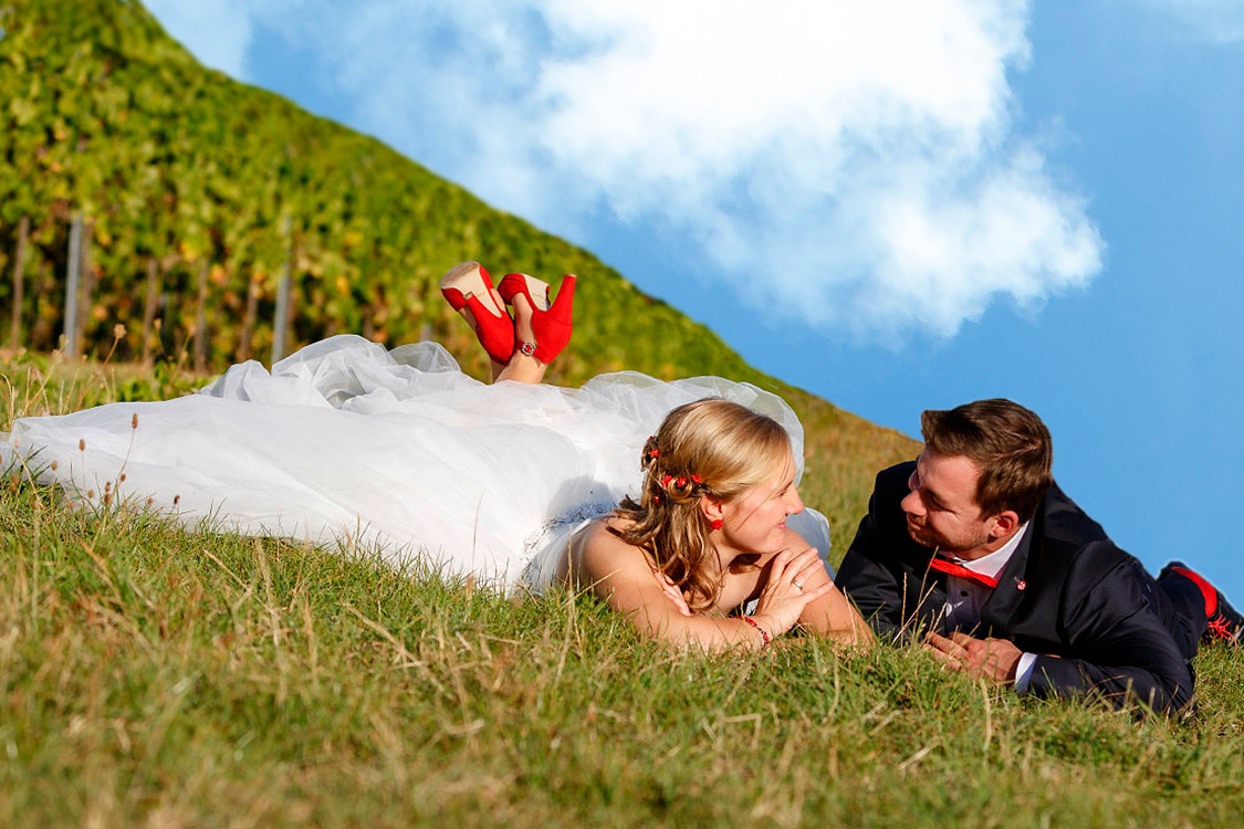 Bei Waldbronn, Hochzeitsfoto, blauer Himmel