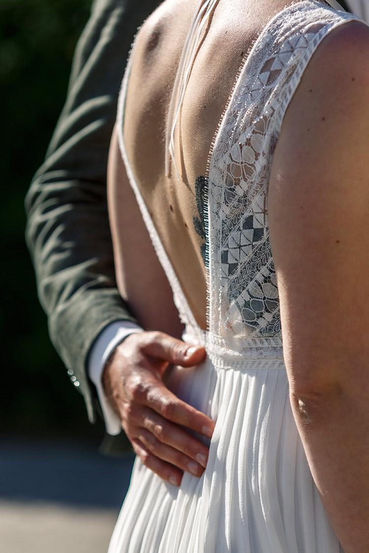 Rücken Hochzeitsfoto Braut